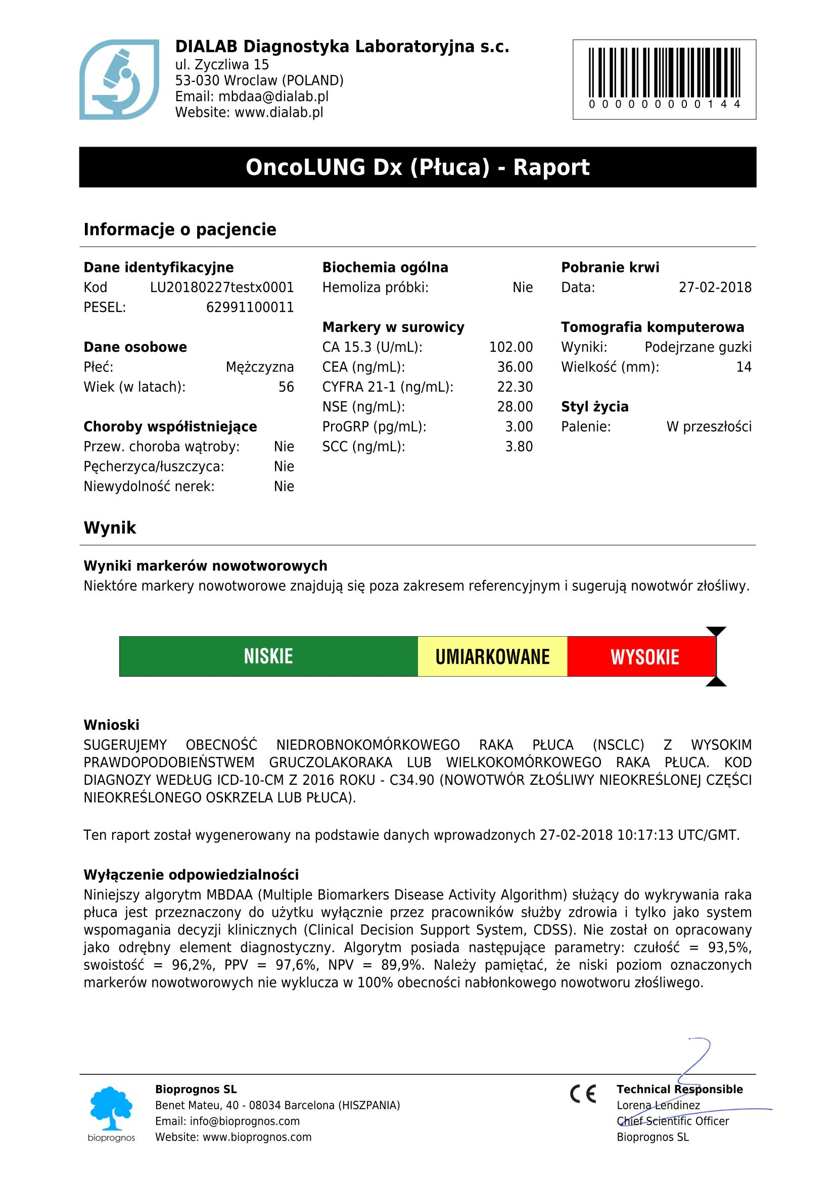 OncoLUNG-Dx-Raport,Bioprognos IMS